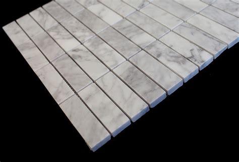 tuscany pattern super white glass tile italian carrara 1x3 stacked mesh mounted marble mosaic tiles
