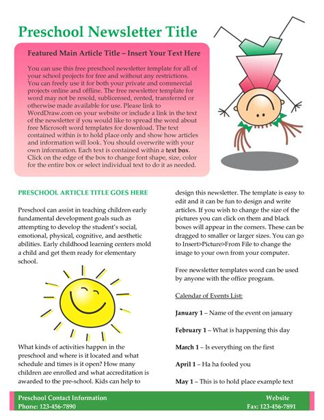 free newsletter template word free newsletter templates download