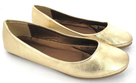 gold shoes flats flat ballet ballerina pumps plain womans work