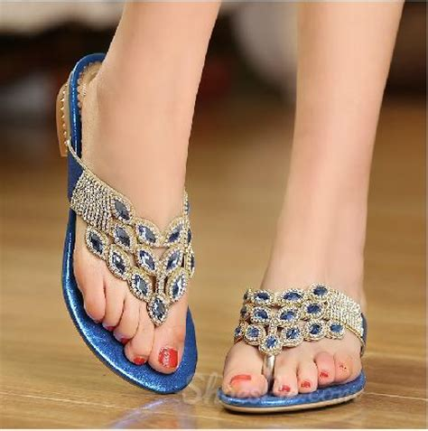 amazing flat shoes amazing blue rhinestone flat heel sandals shoespie