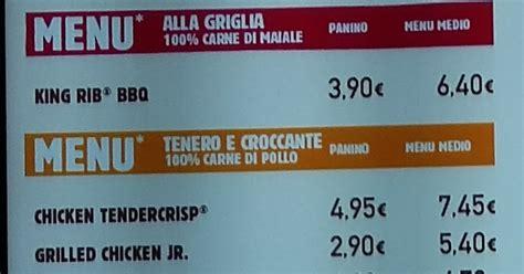 burger king pavia menu e prezzi burger king menu e prezzi