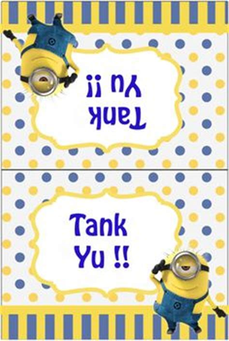minion thank you card template free free printable despicable me minions thank you cards