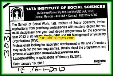 Mba And Msw Dual Degree by Tata Institute Of Social Sciences Deemed