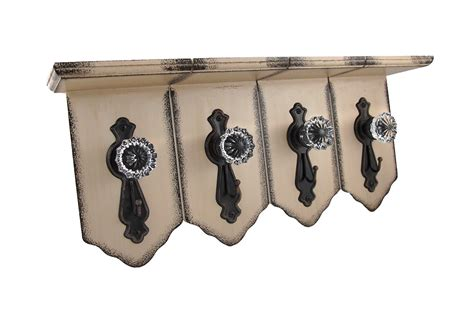 Door Knob Hooks by Distressed Finish Wall Shelf W Antique Clear Door Knob
