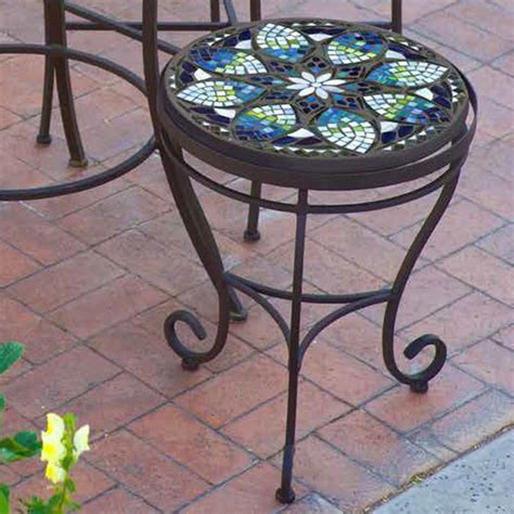 Patio Table Mosaic Knf Garden Designs Iron Mosaic Side Table 18 Quot