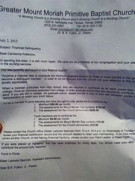 Financial Delinquency Letter Florida Church Threatens To Boot Member For Financial Delinquency Gives 90 Days To
