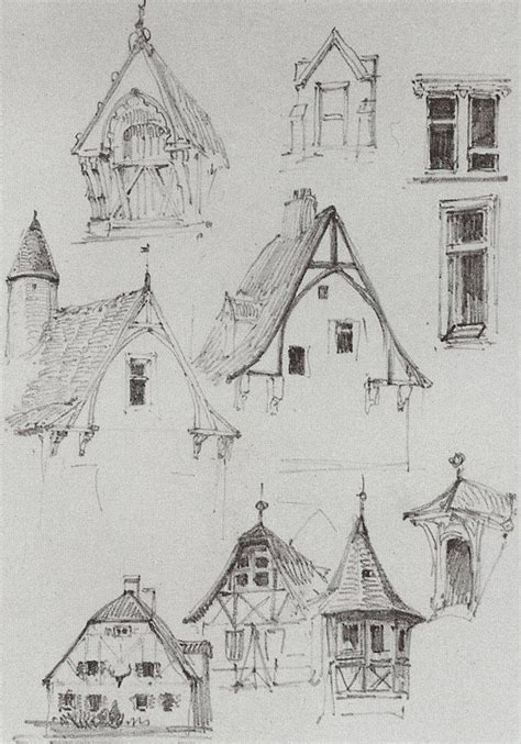 beautiful and simple sketches of bavarian type buildings architectural sketches from