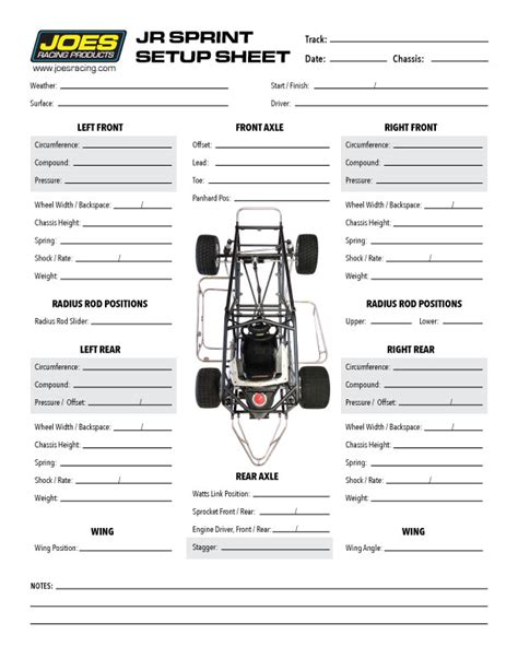 race car setup sheet template chassis setup
