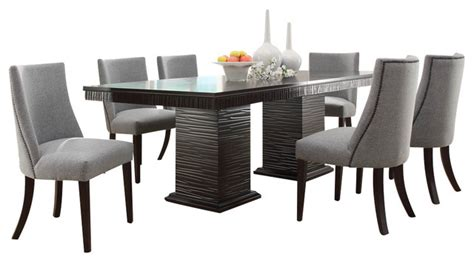 homelegance chicago 7 pedestal dining room set in