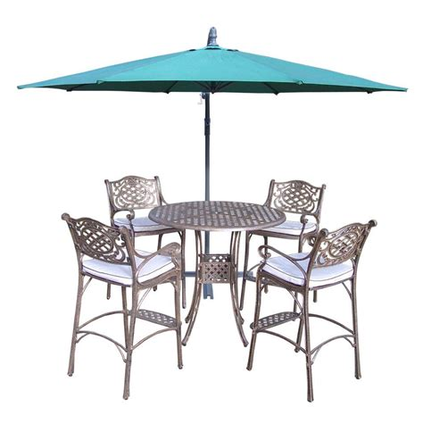 Bar Height Patio Dining Sets Oakland Living Elite Cast Aluminum 6 Patio Bar Height Dining Set With Oatmeal