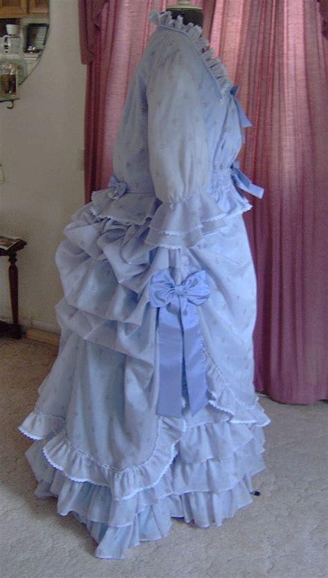 Bj 1880 Blue Sleeveless Dress 1880 s summer bustle dress made from sheer light blue