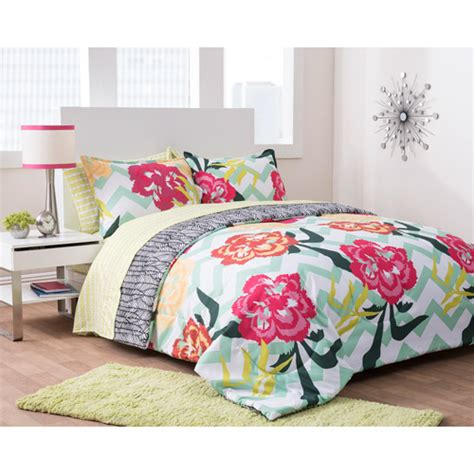 walmart bed sets formula floral fusion reversible complete bedding set