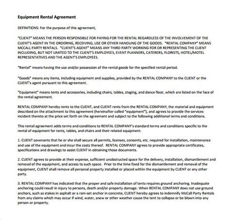 14 Equipment Rental Agreement Templates Sle Templates Equipment Rental Agreement Template