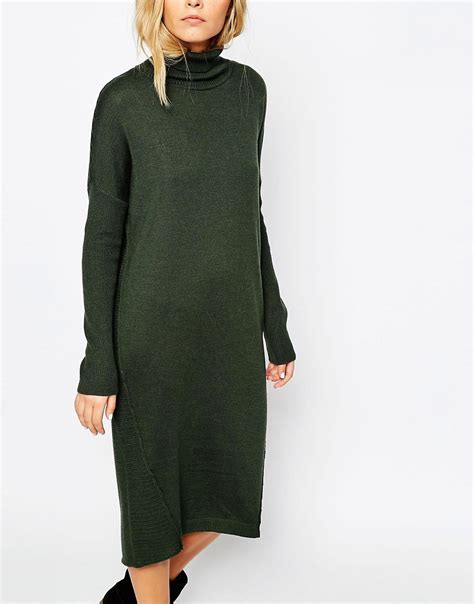 Midi Jumper Dress asos asos midi jumper dress with roll neck at asos