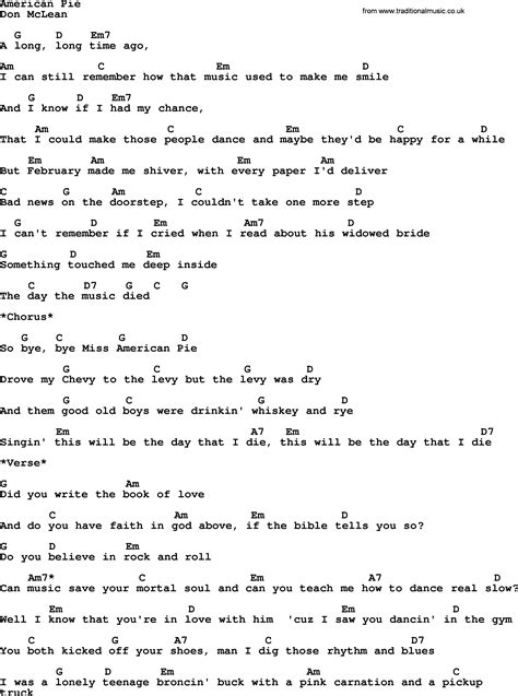 guitar tutorial american pie american pie by garth brooks lyrics and chords
