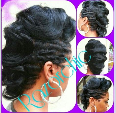 black hairstyles with finger wave sides and curls on top 144 best fingerwaves images on pinterest braids short