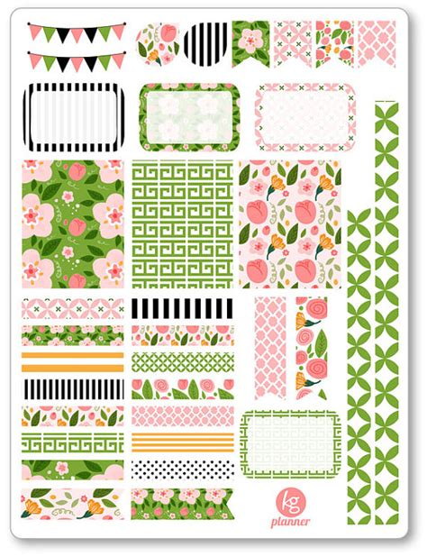 printable planner decorations rosa decorating kit weekly spread planner stickers for erin