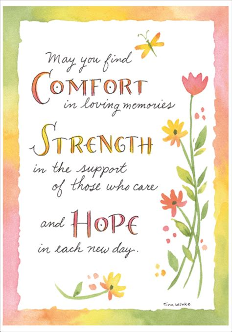 simple words of comfort comfort strength and hope sympathy card it takes two inc
