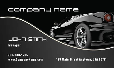 stylish black corvette automotive business card design