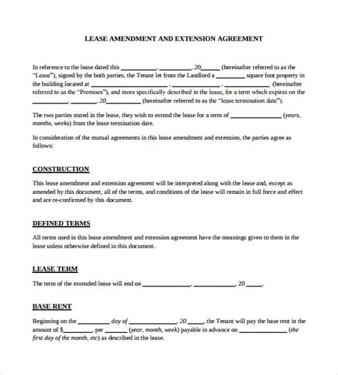 Letter Extending Lease Agreement lease extension agreement template lease renewal
