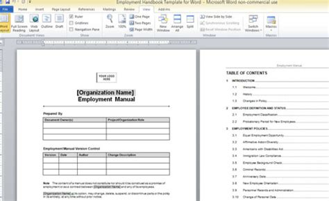 Employment Handbook Template For Word Handbook Template Word