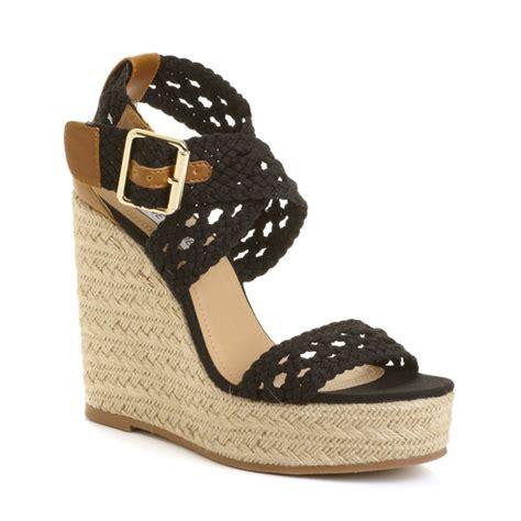 madden wedge sandals steve madden magestee wedge sandals in black lyst