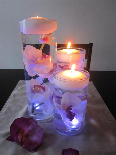 White Purple Orchid Floating Candle Wedding Centerpiece Candle Floral Centerpieces