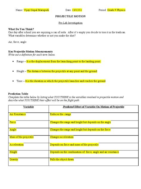 Vectors And Projectiles Worksheet Answers by Projectile Motion Worksheet Worksheets Releaseboard Free