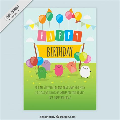 Birthday Card Template Freepik by Birthday Card With Characters Vector