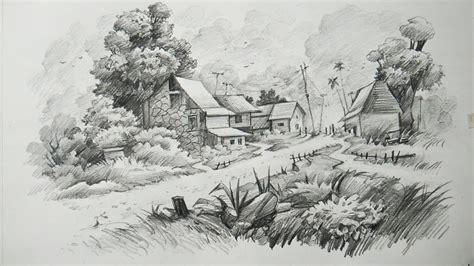 how to draw landscape how to draw a landscape with pencil