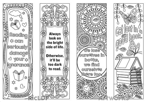 Coloring Page Bookmarks by Printable Coloring Bookmark Templates With Four By