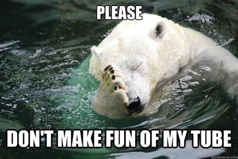 Tube Meme - please don t make fun of my tube embarrassed polar bear
