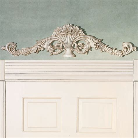 Door Topper by Carved Urn Antique White Scroll Topper