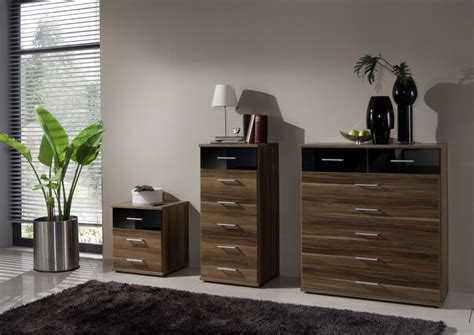 Walnut And Black Gloss Bedroom Furniture Dresden 3 Door German Wardrobe Black Gloss And Walnut 136482