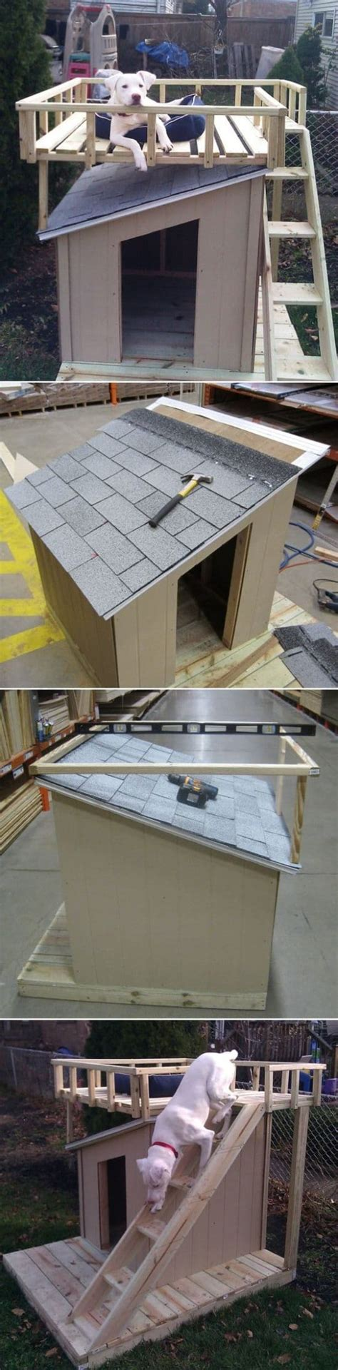 dog house with deck on top dog house with rooftop deck ideas video tutorial