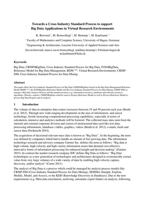big data research papers pdf towards a cross industry standard process pdf