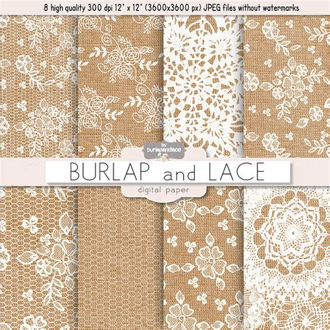 Burlap And Lace Digital Paper Patterns On Creative Market Burlap And Lace Template
