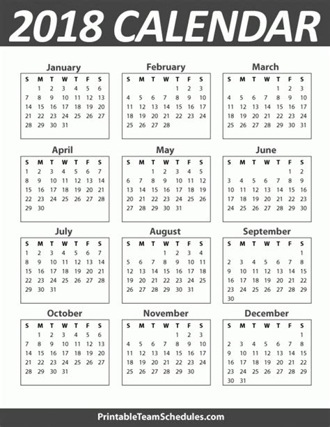 printable calendar year 2018 2018 yearly calendar large printable 2018 calendar