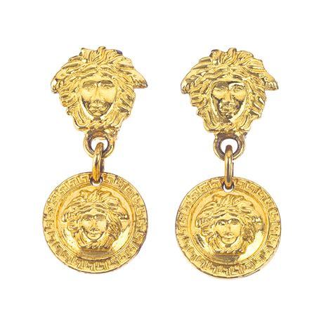 vintage gianni versace medusa earrings gold
