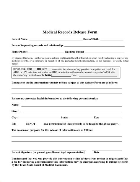 medical release of information form template 30 medical release