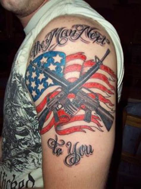 tattoo ideas patriotic usa flag with rifles patriotic tattoo on shoulder