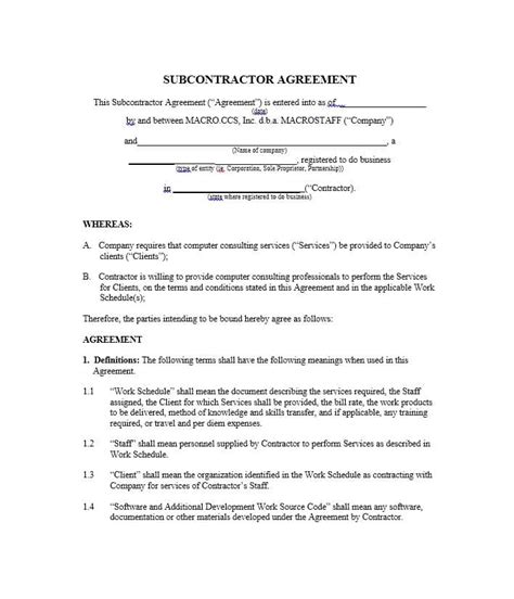Need A Subcontractor Agreement 39 Free Templates Here Subcontractor Agreement Template