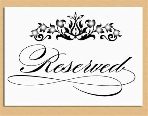 Reserved Table Sign Wedding And Event Signage Printable Tabletop Signs Template