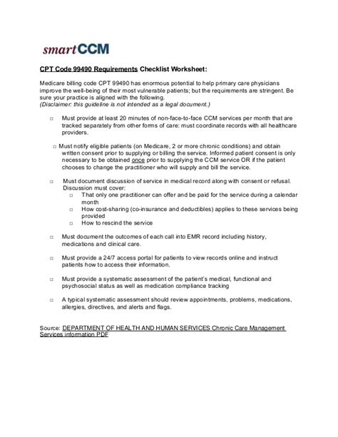 cpt code for repeat c section cpt code 99490 requirements checklist worksheet