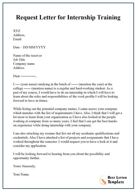 request letter internship training letter template