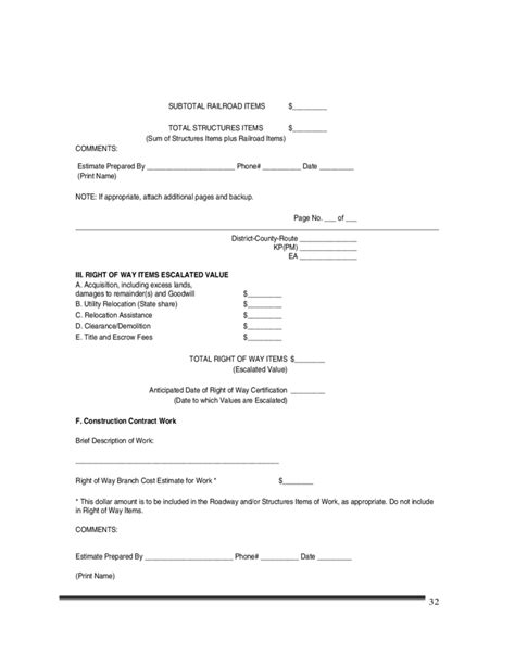 caltrans forms and templates construction cost estimate template california free