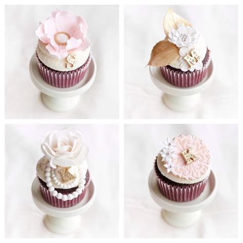 Bridal Cupcakes by Pink And Gold Bridal Shower Cupcakes