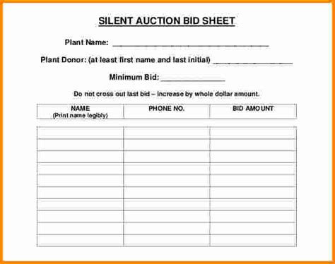 Bid Sheet Template by 8 Silent Auction Bid Sheet Cashier Resume