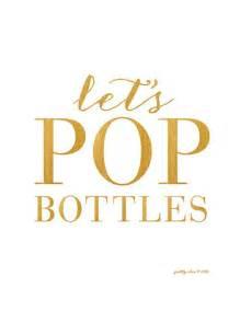 Cocktail Party Drinks - let s pop bottles print bar cart happy hour gold bar