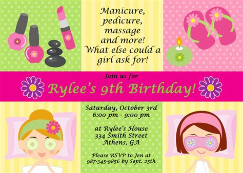 spa birthday invitation template 7 best images of spa invitation printable free